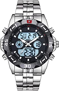 GLJJQMY Multi-Function Electronic Watch Waterproof Outdoor Men's Sports Digital Watch Large Face Military Watch with LED Backlight Running Men Smart Bracelet (Color : Silver)