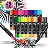 Filzstifte, Surcotto 48 Farben Aquarell Doppelfasermaler, 1-2 mm Brush pen mit 0,4mm Fineliner, Dual...