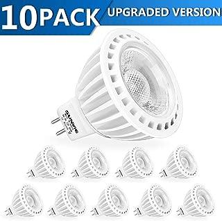SUNVIE MR16 LED Bulb Dimmable Light 50W Halogen Equivalent 7w 3000K Warm White AC/DC 12V Spotlight Bulb for Outdoor Landscape Indoor Flood GU5.3 Base (10 Pack)