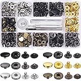 JZK 120 x Set botón a presión de metal corchetes de presión 12.5mm para el proyecto de ropa de cuero con caja de almacenamiento de herramientas de fijación, Negro Bronce Gris Dorado Tono Plata