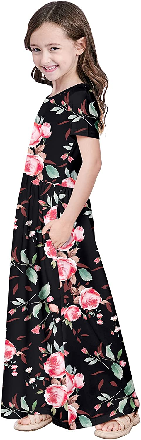 Quedoris Girls Maxi Dress Floral Printed Casual Dress with Pockets for Kids in 4 to 10 Years