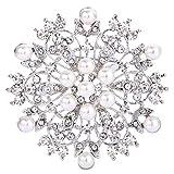 ever faith spilla gioiello, cristallo crema perla simulata inverno fiocco di neve fiore spilla trasparente argento-fondo