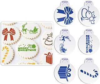 ART Kitchenware 6pcs/set Merry Christmas Snowman Cookie Stencil Fondant Cake Decorating Mold Tool Plastic Decor Cupcake Stencils for Painting Design (Raindeer,Bowknot,Gift Box, Crutch) ST-919S