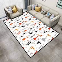 Bathroom Rugs Cat Decor Colorful Cats in Different Poses Pussycat Domestic Friends Companions Modern Illustration Multi Furniture Sliders for Carpet 7'6x10'