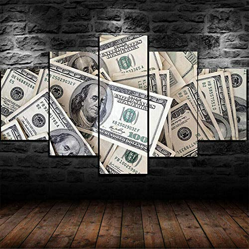 ZHONGZHONG 5 Canvas Paintings Hd Print Wall Art Poster Pictures Wooden Framed Living Room Bedroomhome Decor Painting Dollar Banknotes Money 60X32Inch/150X80Cm