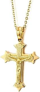 COOLSTEELANDBEYOND Piccolo Tre Strati Oro Colore Gesù Cristo Crocifisso Croce Ciondolo, Acciaio Collana con Pendente da Uo...