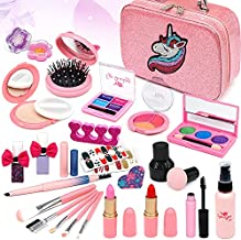 Kids Washable Makeup kit Girls - Real Cosmetic Toy Little Girl , Toddler & Non-Toxic Make Up Set , Children Vanities Dress Up,Child Princess Play pretend Birthday Gift,Age 3 4 5 6 7 8 Year Old