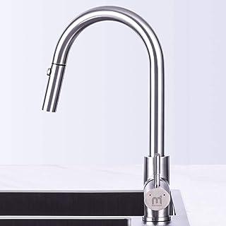 Grifo de Cocina, MEHOOM Grifo con Ducha Extraible 2 Modos de Flujo de Agua Giratorio de 360° para el Fregadero de Cocina M...