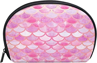 ALAZA Mermaid Fish Scale Half Moon Cosmetic Makeup Toiletry Bag Pouch Travel Handy Purse Organizer Bag for Women Girls