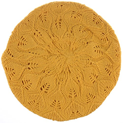 BYOS Winter Chic Warm Double Layer Leafy Cutout Crochet Knit Slouchy Beret Beanie Hat (Mustard Yellow Leafy)