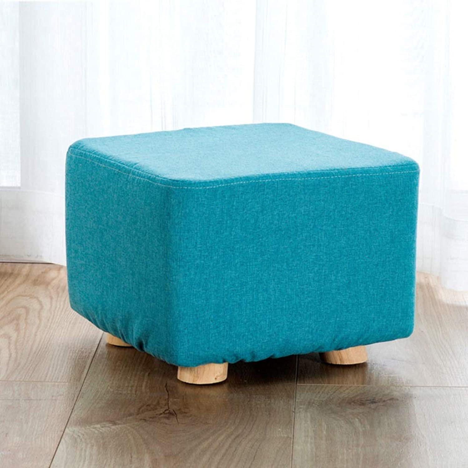 Square Wooden Footstool,Modern Simple shoes Bench Stool for Living Room Bedroom Office-C 25x25x20cm)-C,25x25x20cm