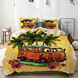 Funda nórdica beige, estilo surf o hippy, autobús antiguo vintage con flores de tabla de surf y dibujo de palma, juego de cama de microfibra impresa de calidad de 3 piezas, diseño moderno con suavidad