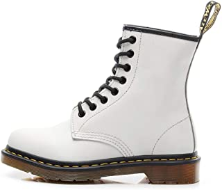 Unisex Adults Classic Lace Up Leather Ankle Army Boots - White - for Men (Color : White, Size : 8UK)