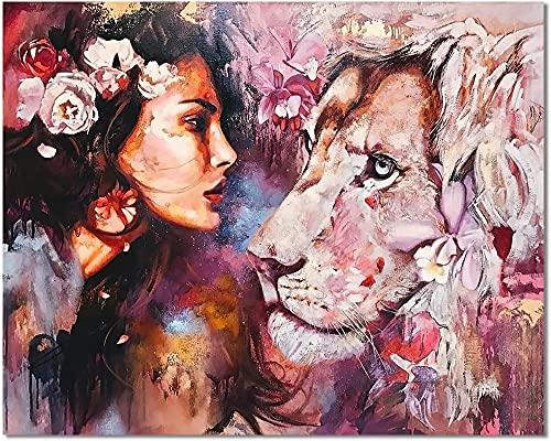 Bougimal Pintar por Numeros Adultos, DIY Pintura por Números Mujer y Leon sin Marco de 40 X 50 cm