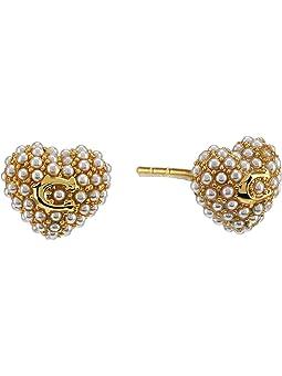 코치 귀걸이 COACH Pearl Puff Heart Stud Earrings,White Pearl