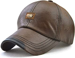 Gorra de Béisbol para Hombre Sombrero de Cuero Suave de PU Sombrero Deportivo Al Aire Libre Otoño Invierno 56-60cm