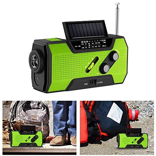 OurLeeme Radio de secours à manivelle Radio FM, auto-alimentée par énergie solaire avec lampe de poche LED IPX3 étanche 4 façons de charger plusieurs fonctions avec alarme SOS