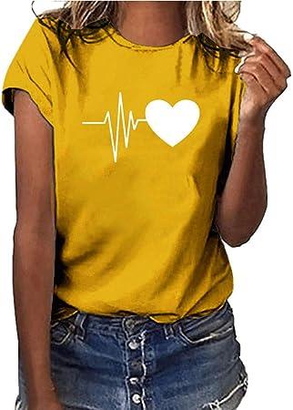 Keepwin ¡Nueva!Camiseta Verano Mujer Blusa Moda Camiseta con ...