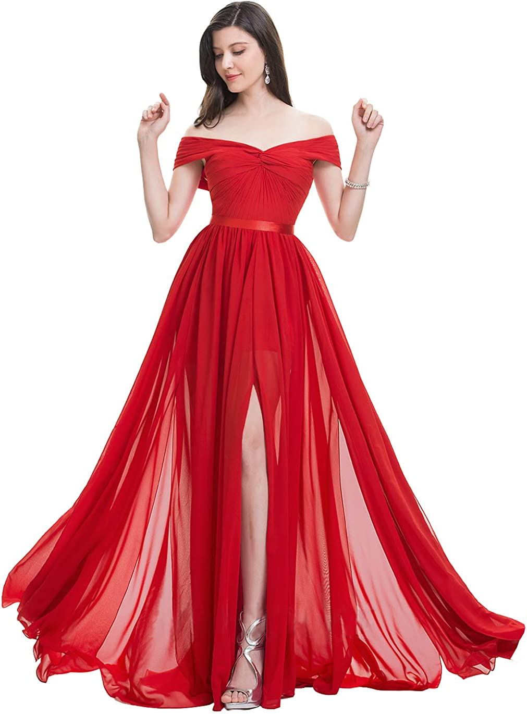 ONEDress Women's Off Fixed price Regular dealer for sale Shoulder Bridesmaid A with Dresses Slit Lin