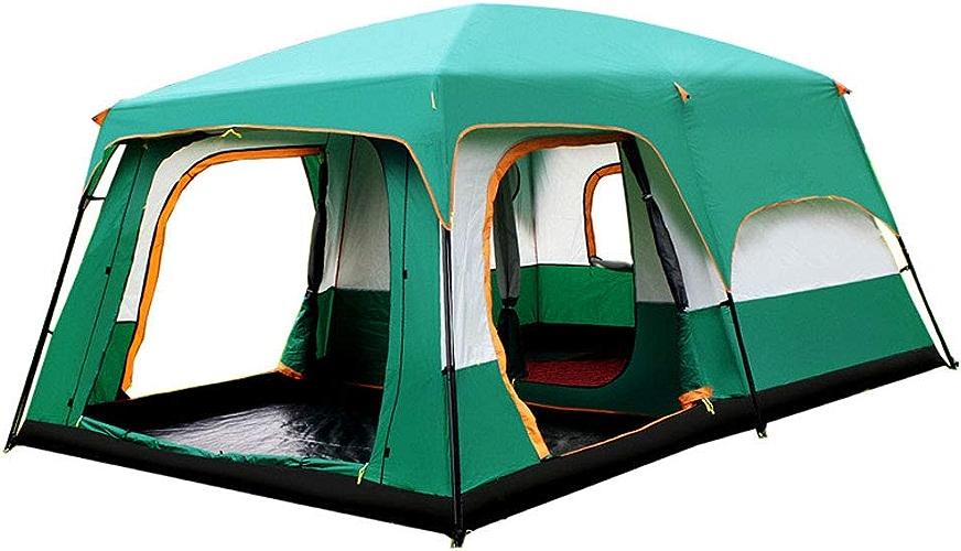 2 Salons Et 1 Hall Famille Tentes Camping Extérieur Double Couche Anti-Tempête Grande Tente 10-16 Personnes