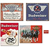 Bundle: Vintage Tin Budweiser Signs - Budweiser Historic Label, Budweiser 1936 Logo, Budweiser 25 Cent and Budweiser Clydesdales. Plus Budweiser Weathered Magnet.