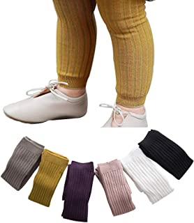 6 Pack Toddler Baby Cable Knit Ankle Leggings Pants Footless Winter Tight Stockings for Girls