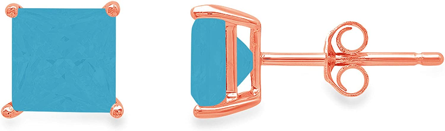 Clara Pucci 3.1 ct Brilliant Princess Cut Solitaire VVS1 Flawless Simulated Turquoise Gemstone Pair of Stud Earrings Solid 18K Pink Rose Gold Butterfly Push Back