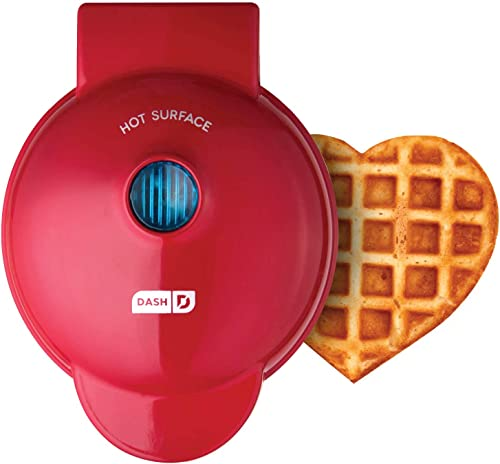 Dash DMW Machine for Individual, Paninis, Hash Browns, other Mini waffle maker, 4 inch, Red heart