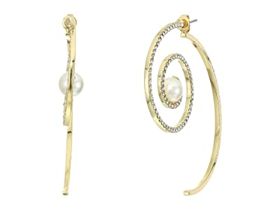 Vince Camuto Spiral Front Back Earrings (Gold/Crystal/Ivory Pearl) Earring