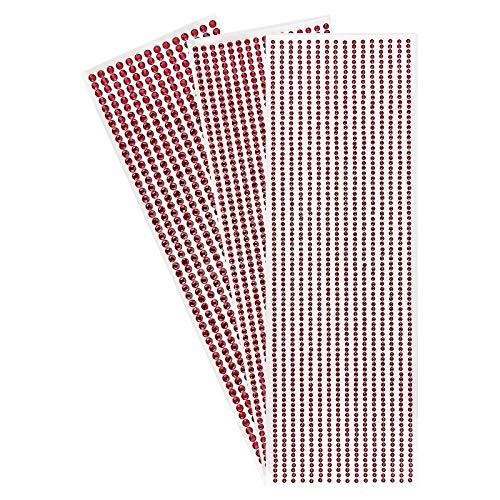 Strass-Bordüren zum Basteln, selbstklebend, runde Schmucksteine, 3 Bogen mit Schmucksteinen à Ø 3mm, Ø 4mm, Ø 5mm   Glitzersteine, Kristalle zum Aufkleben (rot)