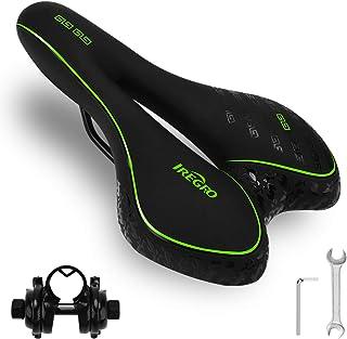 comprar comparacion Iregro - Sillín para bicicleta de montaña, de gel, con protección antilluvia, cómodo, para hombre y mujer, absorción de go...