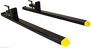 """Titan Attachments Heavy Duty 60"""" Clamp-on Pallet Forks 4000 lbs for Loader Bucket Tractor Bucket or Skidsteer Easy to Install"""