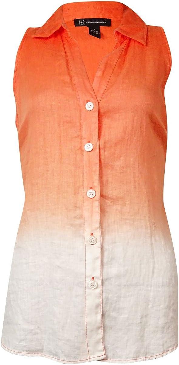 INC International Concepts Women's Ombre Sleeveless Linen Top