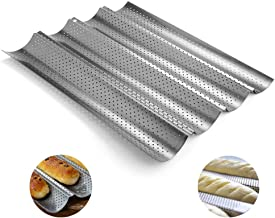 Hovome Baguette Mold Pan French Bread Stick Baking Pan Nonstick Perforated Crisping Baking Tray Baking Beginners and Cake Lovers