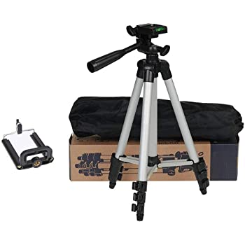 Super Marche Tripod Stand with 3-Way Head Tripod for Digital Camera (Silver, Black, Supports Up to 1500 g)