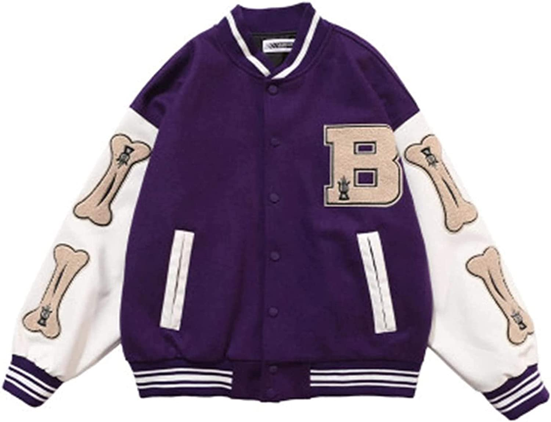 Men's Baseball Coats, Hip Hop Jackets, Furry Bone Color Block Streetwear Patchwork Pattern, Flight Bomber Jacket,Purple,XL