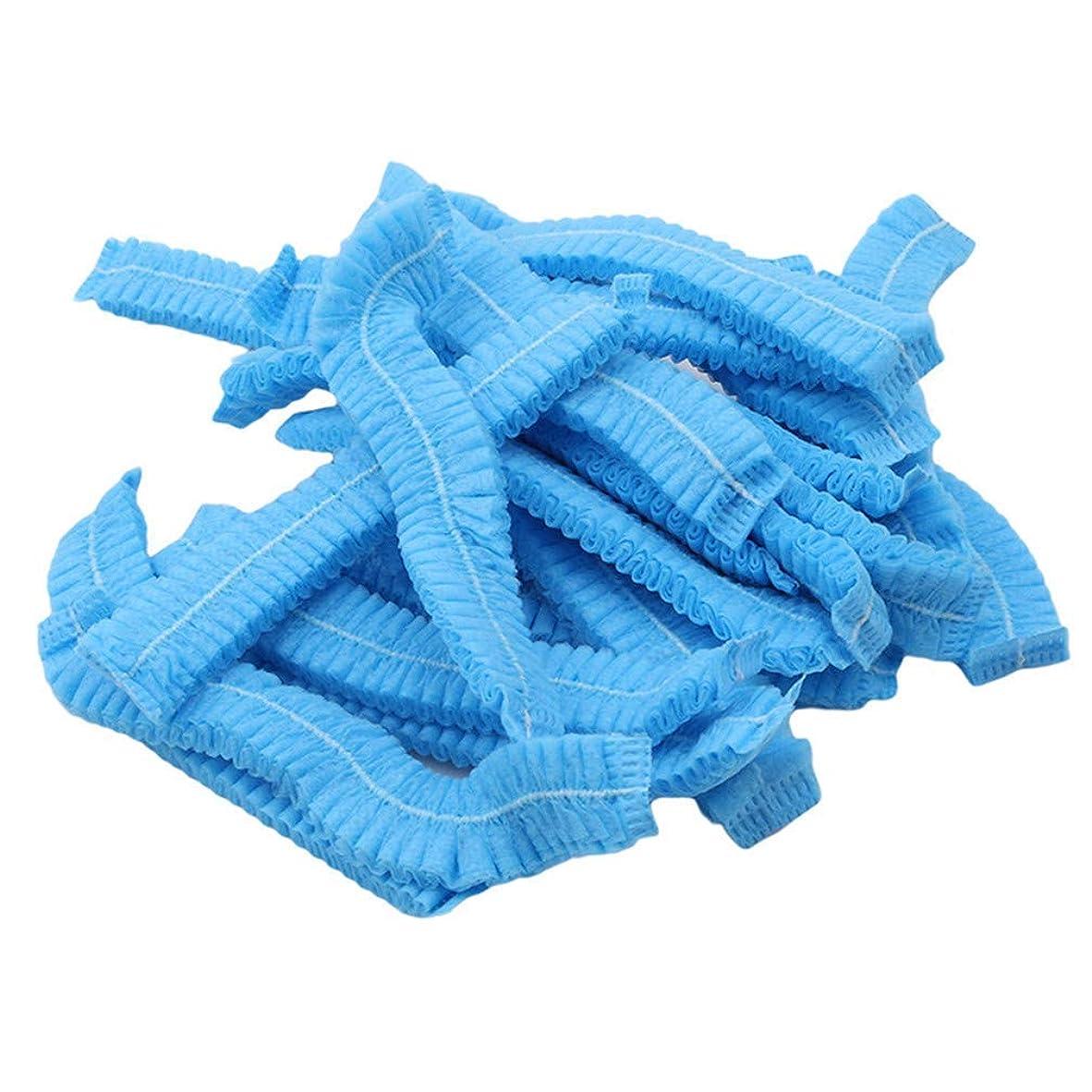 ロンドン掃除あなたは1st?market 耐久性のある100ピース不織布使い捨てシャワーキャッププリーツアンチダスト帽子女性男性風呂キャップ用スパヘアーサロン美容アクセサリー、ブルー