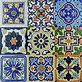 Art3d 6 Sq. Ft Decorative Tiles, Spanish Mediterranean Decor, Hand Painted Talavera Mexican Tiles