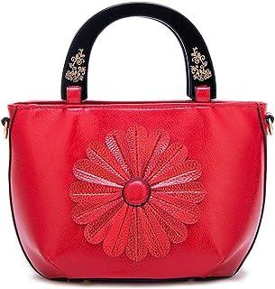 Trendy Lady Flower Bag Messenger Bag Carved Soft Leather Bag Sweet Sun Flower Handbag Shoulder Bag Zgywmz (Color : Red, Size : 22 * 10 * 21cm)