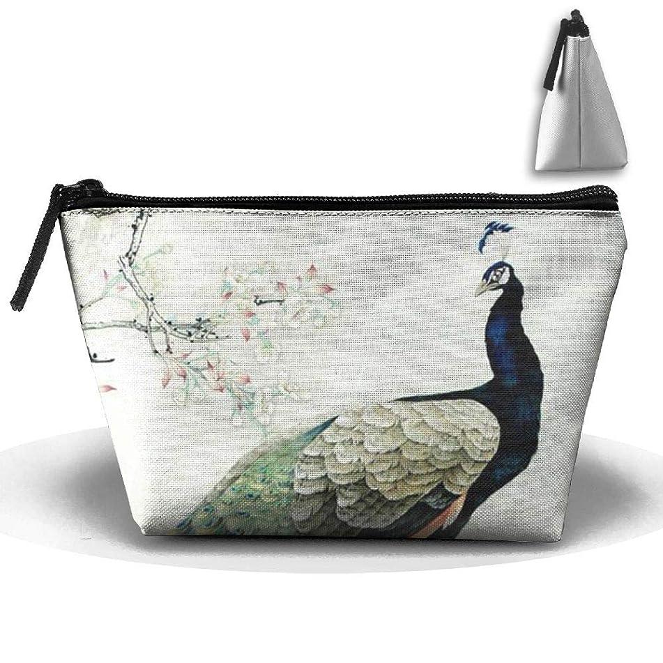 NT1UNW Peacock Asian Art Canvas Makeup Bag Pouch Purse with Zipper