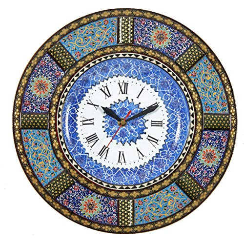 LPUK Khatam - Reloj de pared con diseño de minakari de madera con incrustaciones de esmalte persas hecho a mano, 1,3 kg, diámetro: 33 cm