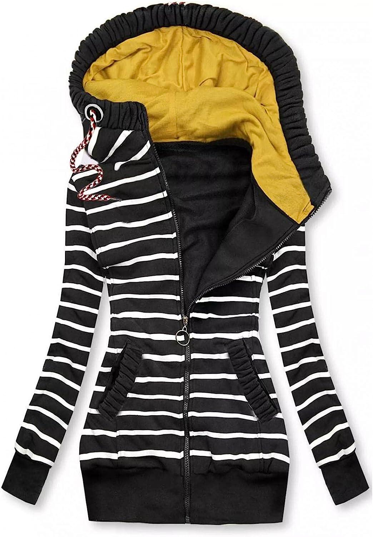 FABIURT Sweatshirt for Women Zip Up,Women's Stripe Print Hoodie Long Sleeve Hooded Sweatshirts Pockets Jacket Coat