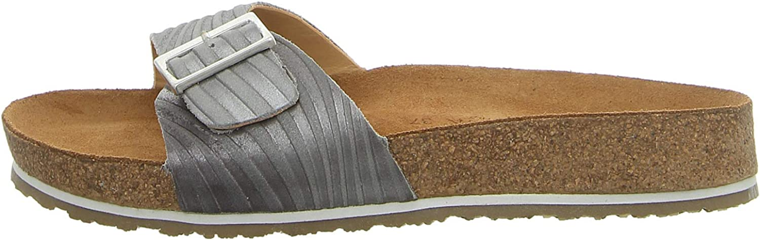HAFLINGER Leather Slide Easy-to-use Mule Bio Gina Silver Cheap mail order sales