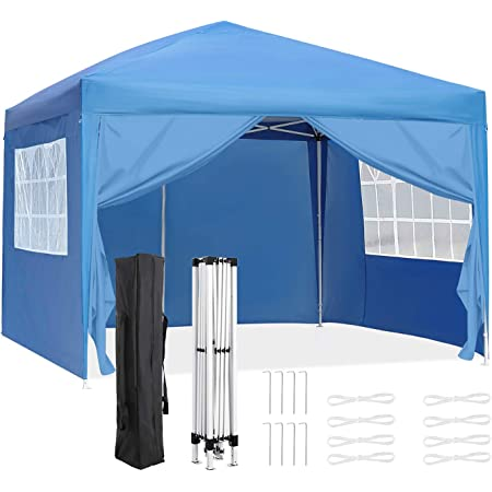 OKVAC 10x10 FT Pop Up Canopy Tent, Portable Commercial Instant Shelter, Adjustable Height Outdoor Event Gazebos with 4 Removable Sidewalls and Carry Bag, for Wedding, Beach, Party, Picnic (Blue)