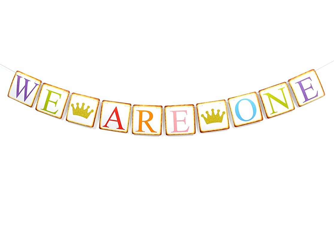 Qttier We are One Banner Twins' 1st First Birthday Banner with Glitter Gold Crown nkirxypl4