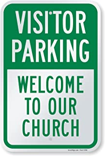"""SmartSign """"Visitor Parking - Welcome To Our Church"""" Sign   12"""" x 18"""" Aluminum"""
