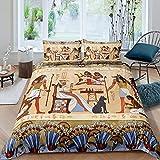 Juego de ropa de cama de Egipto Antiguo - Juego de cama con diseño de águila tribal, funda de edredón para mujeres, hombres, adultos, cultura, Egipto, diseño de perro