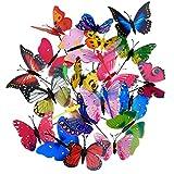 Shappy 20 Piezas Estacas de Mariposas de Jardín y 4 Piezas Estacas de Libélulas Adornos de Jardín para Decoración de Patio Fiesta, Totalmente 24 Piezas