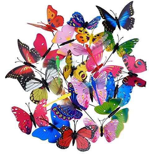 20 Pieces Garden Butterflies Stakes and 4 Pieces Dragonflies Stakes Garden Ornaments for Yard Patio Party Decorations, Totally 24 Pieces (Normal)