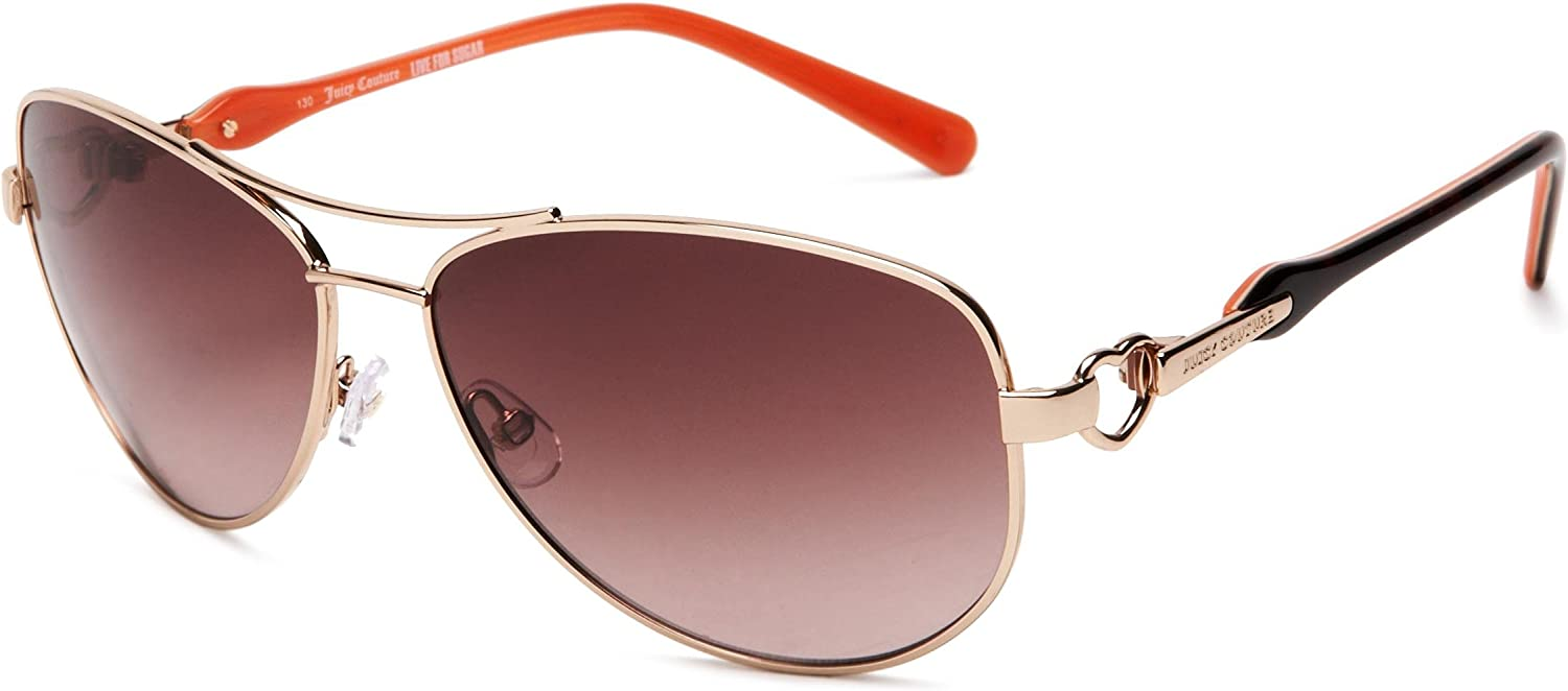 Juicy Couture Women's Decos Aviator Sunglasses,Shiny Light gold Frame Brown Gradient Lens,one size